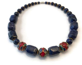 Lapis lazuli necklace with large hand-made Tibetan beads strung on a wire of stainless steel.