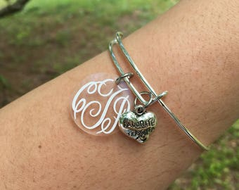Teacher monogrammed expandable bracelet