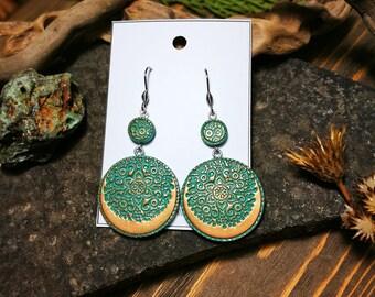 "Voluminous and light ""Delicious Cookies"" polymer clay earrings, Boho earrings, Ethnic earrings, Gypsy earrings"