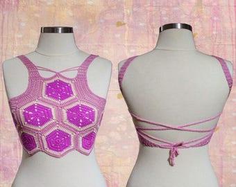 Pink Boho Crop Top - Multi Colored Boho Crop top