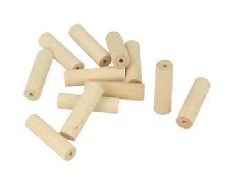 15 pearls cylinder wood 30 x 8.6 mm - beads wooden - Perle wood - Perle cylinder - Perle Tube