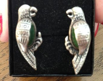 Sterling  Silver Parrot Screwback Earrings