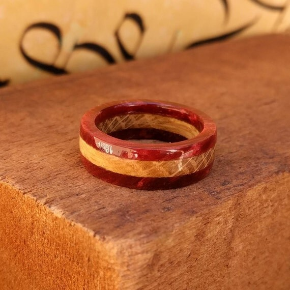 Red Whiskey Barrel Wood Ring - Wood Ring Men Wood Wedding Ring  Woman Engagement Ring Anniversary