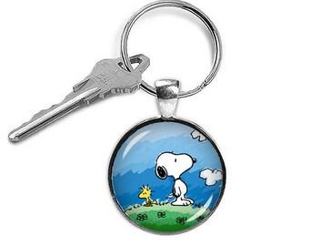 Snoopy Keychain Woodstock Key Ring Snoopy KeyFob Peanuts Fandom Jewelry Cosplay Fangirl Fanboy