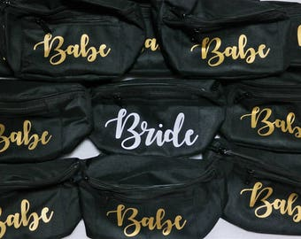 Bride and Babe Fanny packs | Bachelorette party | girls night out | Bridal party | Bridesmaid | Belt bag | Purse | Personalized Fanny pack
