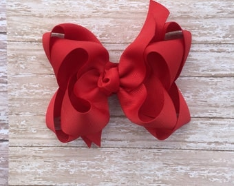 "red double boutique hair bow, 5"" hair bow, large hair bow, large boutique hair bow, xl hair bow, red hair bows, back to school hair bows"