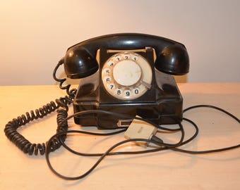 Vintage Soviet black ROTARY DIAL PHONE 1960's