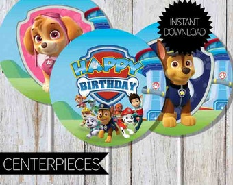 PAW Patrol Birthday Party PRINTABLE Circles Centerpieces- Instant Download | Nickelodeon| Cake Topper