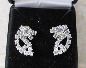 Vintage 1940/50 Cluster Rhinestone Earrings - Converted from clip-on to pierced