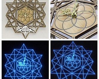 Maple sacred geometry blue glow in the dark clock