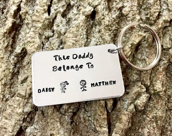 This Daddy belongs to, Fathers Day, For Him, Fathers Day Present, Personalised Gift For Him, For Daddy, New Daddy, Gift for Daddy, Keyring