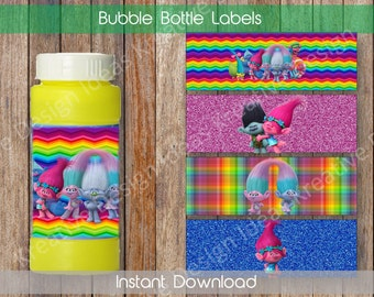 Trolls Bubble Bottle Labels Bubble Bottle Labels or Stickers Trolls Party Printables Theme Birthday Party - INSTANT DOWNLOAD