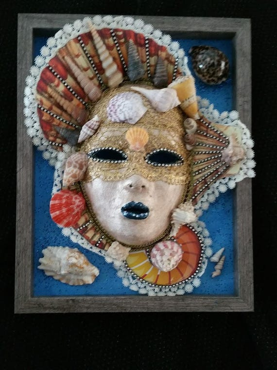 "Handcrafted, Original, Venetian Style Mask, in 11 x 14 in Wooden Shadowbox,"" Queen Of Shells"" was created by Maskweaver, Soraya Ahmed"