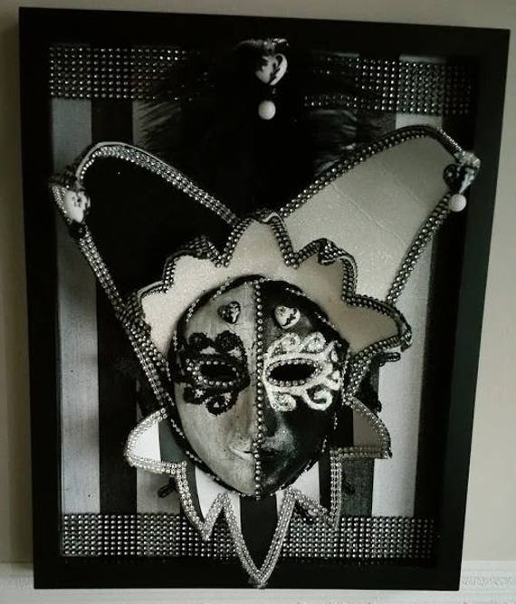 "Handcrafted, Original, One of a Kind, Paper Mache Mask in an 8 x 10 inch Shadowbox, ""Black N White Jester"" by Maskweaver, Soraya Ahmed"