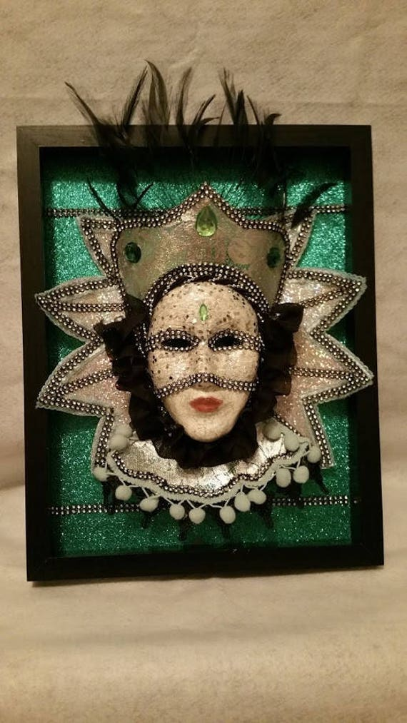"Handmade, Original, One of a Kind, Paper Mache Mask ""Tudor Queen"" set in a Wooden 14 in by 11 in shadowbox, made by Maskweaver, Soraya Ahmed"
