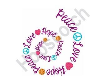 Peace Love Hope - Machine Embroidery Design