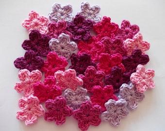 30 colourful mini flower in 5 colors - crochet