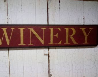 WINERY Sign - Wood WINERY Sign -  Hand Painted Winery Sign - Burgundy Gold and Black Winery Wooden Sign - Farmhouse Style Winery Sign
