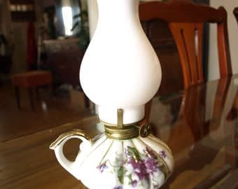 Authentic Kasuga Ware Floral Decorated Miniature - Mini Oil Lamp Hand Crafted Japan - rare
