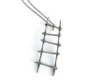 Artisan Ladder Necklace *  Blackened Sterling Silver Unique Hand Wrought and Forged Artisan Oxidized Pendant