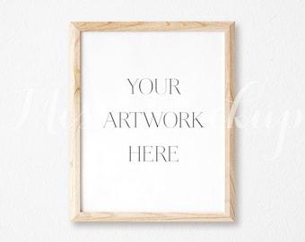 "8x10"" DIGITAL Natural Wood Frame Mockup (Portrait) - Stock Photo, Styled Photography, Mock up, prints, illustration, INSTANT DOWNLOAD"