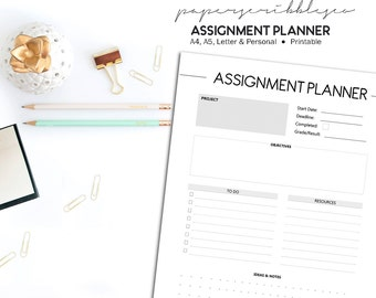 SALE - Assignment Planner, Student Planner, Homework Planner, Project Planner, Student Printable, Back to School, Academic Planner Printable