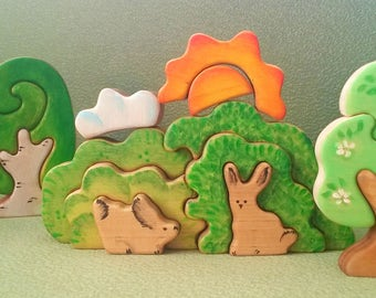 Spring SET: Wooden Bunny In a Bush Stacker + Two Tree Figurines +Sun&Cloud// wooden toys for toddlers// Waldorf Toy