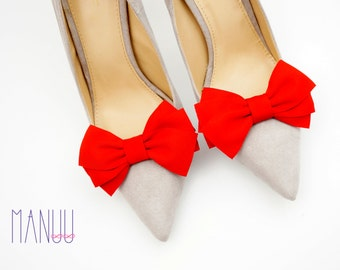 Red shoe clips - bow shoe clips Manuu, elegant shoe accessories,red bows