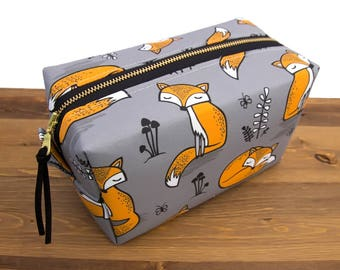 Fox Box Bag - Fox Bag - Make Up Bag - Birthday Gift for Friend - Makeup Pouch - Toiletry Bag - Cosmetic Bag - Makeup Bag - Gift for Her #54