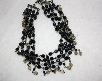 Unique black beaded choker necklace