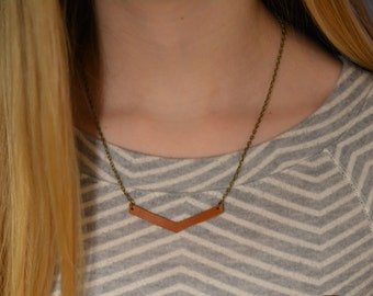 Chevron Leather and Chain Necklace