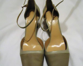 "SALE!!!! Bally Open Toe Soft Olive color ""Siela"" leather Heels Size 6.5 (USA)"