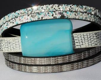 Bracelet leather & glass #37