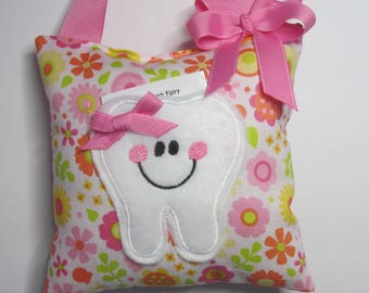 Tooth Fairy Pillow Pink and Orange Flowers Ready to Ship