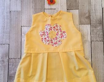 Homemade yellow gathered waist dress
