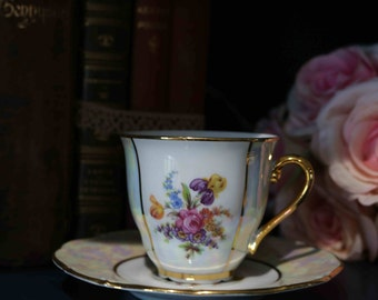 Vintage Haas and Czjzek floral Pearl and Lustre Finest Porcelain Coffee Cup