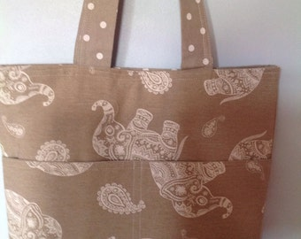 Elephant and Polka Dot Tote, Shopping, Beach Bag Linen Look Fabric with Magnetic Clasp