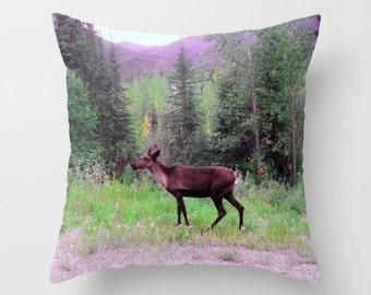 Caribou Pillow, Reindeer Pillow, Animal Pillow, Throw Pillow Cover, Nature Pillow, Scenery Pillow, Alaska Pillow, Purple Pillow, Forest, Art