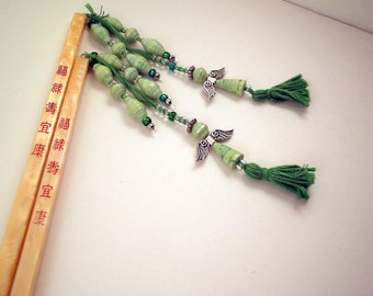Hair Chopsticks with green angels