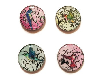 Hummingbird magnets or hummingbird pins, refrigerator magnets, fridge magnets, office magnets