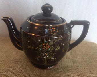 Vintage Moriage Style Beaded Redware Teapot, Brown Glaze, 1960's, Japan