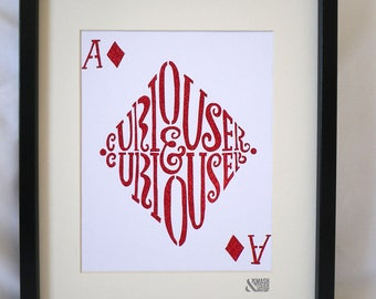 Curiouser And Curiouser! Alice in Wonderland red glitter paper cut