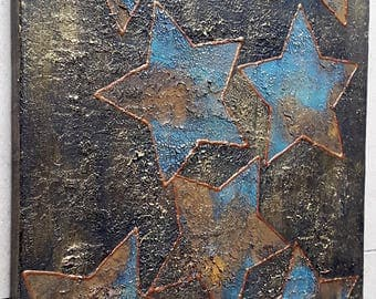 Acrylic painting canvas 40 x 30 star rust turquoise gold copper structures painting