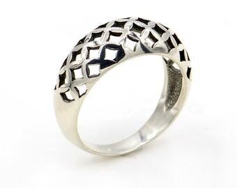 big arabesque ring, shape ring, big silver ring, silver ring, round ring, large silver ring, ring for women, ring size 8, women gift, holes