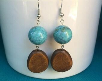 Dangle Turquoise Bead, Wooden Bead Earrings, Turquoise and Wood Earrings, Boho Earrings, Boho Chic Earrings, Hypoallergenic