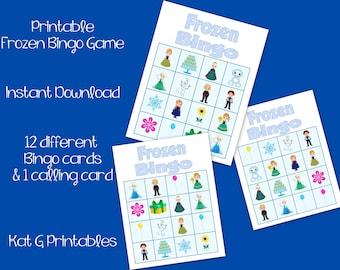 Frozen Bingo Game, Instant Download Printable, Party Game, Elsa, Anna, 12 Card