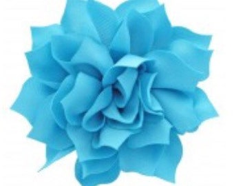 """3.5"""" Turquoise Blue Hair Flower Clip   Boutique Bow   Hair Bows   Headband   Girls   Baby"""