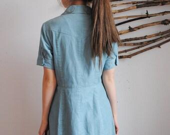 Vintage velvet dress maxi 1960s 1970s 1980s sky blue womens dress