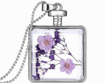 Dry Flowers Pendant with Chain