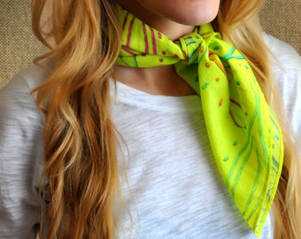 BEAUTY printed scarf, bandana, scarf, gift for her, colorful scarf, rainbow scarf, multicolor scarf, cotton scarf, neck scarf